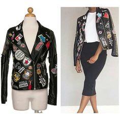 PREORDER Boutique Coat S M L Black Faux Leather Patchwork Front Moto Jacket…