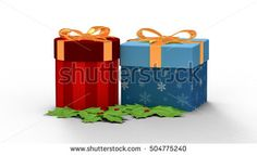 two gift box in Christmas day. 3D rendering