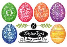 Easter Eggs hand painted folk art by zurzur on @creativemarket