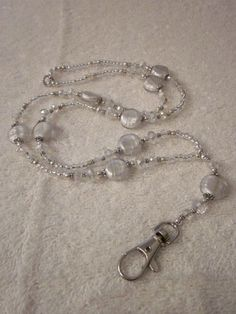 Sparkling Winter Crystal Glass Beaded Lanyard ID Badge Holder Lanyard Necklace, Diy Necklace, Necklaces, Beaded Lanyards, Eyeglass Holder, Wire Pendant, Id Badge Holders, Wine Charms, Making Ideas