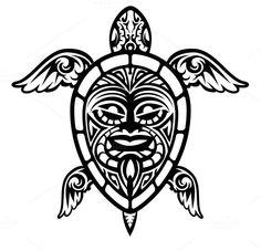 Vector Turtle Polynesian Tattoo