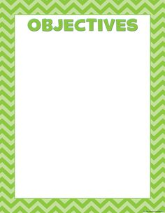 """Lime Chevron Objectives Chart - Convenient, useful learning tools decorate as they educate! Each chart measures 17"""" by 22."""" Related lessons and activities are provided on the back of every chart."""