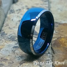Blue Tungsten Ring Wedding Band Mens High Gloss Domed PI Blue Plated Ring Womens Jewelry Promise Ring Free Engraving His and Hers Ring Unique Diamond Engagement Rings, Unique Rings, Male Engagement Rings, Blue Rings, Women's Rings, Wedding Ring Bands, Ring Designs, Women Jewelry, Men's Jewelry