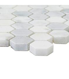 East Hampton Hexagonal Mosaic, Honed | Fired Earth Honed Marble, Marble Tiles, Wet Room Flooring, Fired Earth, East Hampton, Underfloor Heating, Wet Rooms, Tile Design, White Marble