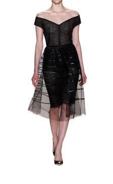 Lela Rose striped tulle overlay dress