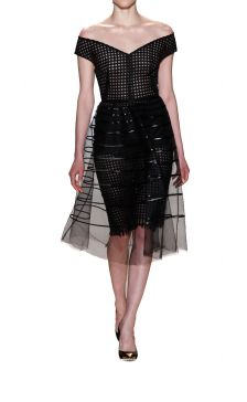 Lela Rose striped tulle overlay dress