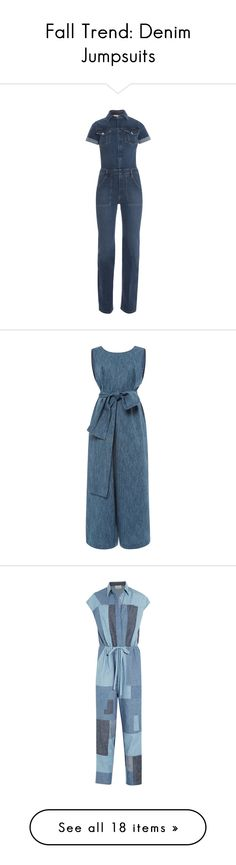 """""""Fall Trend: Denim Jumpsuits"""" by polyvore-editorial ❤ liked on Polyvore featuring denimjumpsuit, jumpsuits, blue jumpsuit, jumpsuits & rompers, blue jump suit, frame denim, jump suit, sleeveless jumpsuit, jumpsuit and light blue"""