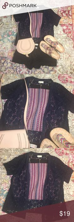 Navy blue floral lace cardigan Navy blue floral lace cardigan. Missing one button!! Easy fix 😊 Maison Jules Tops Button Down Shirts