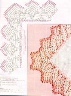 crochet border edging with popcorns diagram symbols