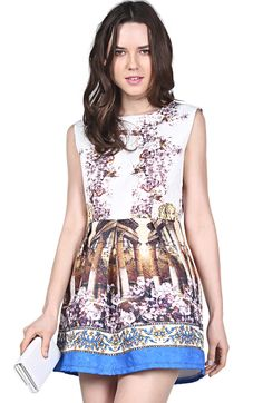 White Contrast Blue Sleeveless Vintage Floral Dress N.Kr.223.22