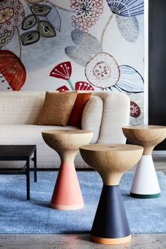 The Float coffee tables by PINCH with the Inntil sofa and Tijuana fabric by MISSONI HOME