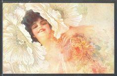 PA143 ART DECO a/s GUERZONI RISQUE EROTIC TOPLESS LADY FLOWERS Fine LITHO