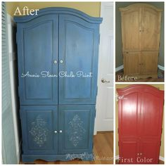 Blue Armoire Chalk Paint / BeforeAfter (cusome blend of Chalk Paint colors ... 3 different ones to create this look) #chalkpaint #armoire #homedecor