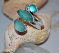 Sea Glass Ring Sea Foam Sea Glass Mint Sea Glass by kathyarterburn, $68.00