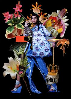 Fashion collage in Eclectic magazine by Ashkan Honarvar photos by Dani Golovkin Denim Top and Trousers: ASHISH Coat: Mary Katrantzou Necklace: AMBUSH Shoes: Vivian Yin Ekaterina Kukhareva