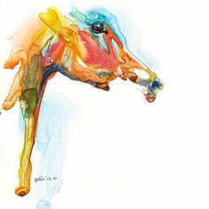 Equine Nude 56 - Ballpoint Pen and watercolor Horse Painting