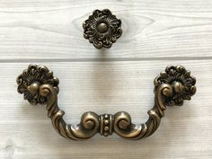 1 brown Drawer Cabinet Pulls Knobs Salvage vtg dressers backplate bronze rubbed