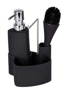 WENKO set Empire black liquid dispenser, washing-up brush, dish cloth holder, Soft-Touch ceramic, 12.5 x 11 x 19 cm: Amazon.co.uk: Kitchen & Home