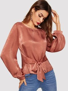 Knot Front Solid Blouse For Women Casual Casual Tops For Women, Blouses For Women, Jackets For Women, Women's Blouses, Ladies Blouses, Sheer Black Shirt, Bluse Outfit, Winter Blouses, Casual Skirt Outfits
