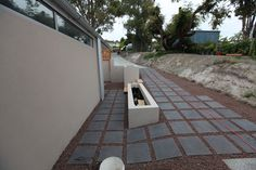 Landscape: entry/side path and wall. Conningham Residence. Construction work for David Travalia Architect. (New House) 2011/12.