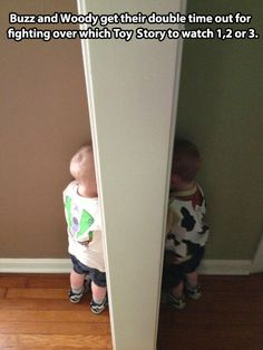 Buzz and Woody after a fight… know what, if they were my kids I don't think I'd be able to do that, that's just too darned cute!