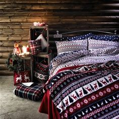 NOW this is a Christmas bedroom Mr and Mrs Claus would be proud of!
