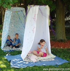 Summer fun! Throw a curtain over a hoola hoop ring & hang them from a branch for an easy outside hideaway. #kids #children #summer http://www.under5s.co.nz/shop/Hot+Topics/Activities/Things+to+do.html