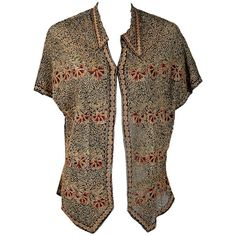 Preowned 1920's Metallic Embroidered Art-deco Swirls Net-tulle Flapper... (9.300 ARS) ❤ liked on Polyvore featuring tops, blouses, brown, long blouse, boho tops, embroidered top, long tops and bohemian tops