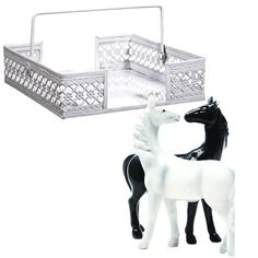 Magnetized Horse Salt and Pepper Shaker With Modern Lace Metal Napkin Holder Simplicity Collection
