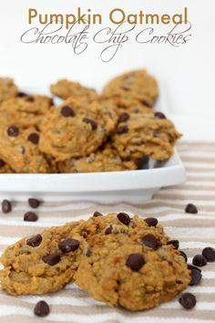 Pumpkin Oatmeal Chocolate Chip Cookies Ingredients 1½ cups all purpose flour 1 cup whole wheat flour 1½ cup quick oats 1 tbsp ground flax 1 tsp baking soda 1 tsp salt 1½ tsp ground cinnamon ¼ tsp g...