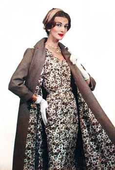 Beatrijs (Dutch) March 1959, model Carmen Dell'Orefice.1950s fashion---matching dress and coat