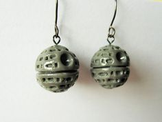 Polymer Clay Death Star Earrings by NerdOasis on Etsy