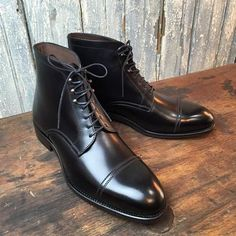 Handmade men black boots, cap toe boots for men, men dress formal military boots sold by LeathersPlanet. Shop more products from LeathersPlanet on Storenvy, the home of independent small businesses all over the world. High Ankle Boots, Black Boots, Shoe Boots, Dress With Boots, Dress Shoes, Cowboy Shoes, Der Gentleman, Leather Boots, Soft Leather