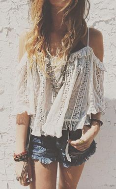 white flowy blouse and shorts. Super cute!