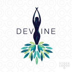 LOGO SOLD elegant, stylish and artist representation of a beautiful flowing women figure with bright colorful feathers flowing away form her body, which represent her dress.