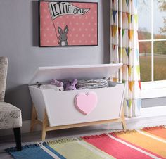 Tapered Wooden Chest with Angled Legs Stand and Heart Accent, White and Pink, Benzara Entryway Storage, Storage Spaces, Storage Chest, Cabinet Storage, Kids Storage, Wood Toy Chest, Wooden Chest, Kids Toy Chest, Kids Dressers