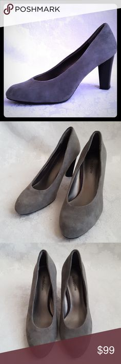 """Liz Claiborne Gray Suede Leather Pumps Liz Claiborne gray suede leather pumps with 3 1/2"""" black heels.  Style is """"CHLOE"""". Genuine leather. Grey suede heels.   Very good used condition. Smoke free and pet free home.   Check out my other listings - 100's of 👠shoes👠, 👢boots👢 and 👜bags👜. Bundle 2 or more and save money!💲💰💲 Liz Claiborne Shoes Heels"""