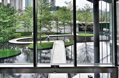 Landscape Structure, Landscape Architecture, Landscape Design, Minimalist Landscape, Corridor, Water Features, Urban, How To Plan, Park