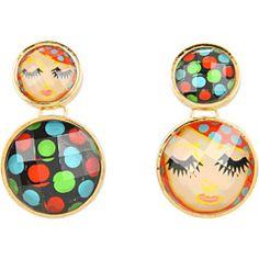Betsey Johnson '60s Mod Face Polka Dot Drop Earrings