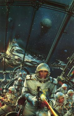space adventures thanks to scifi_art 'The Mercenaries' by John Berkey This one has a nice old school scifi feel to it even though it is one of his later paintings. (From his the book John Berkey: Painted Space, published Arte Sci Fi, Sci Fi Art, Space Fantasy, Sci Fi Fantasy, Norman Rockwell, Concept Ships, Concept Art, John Berkey, Ufo