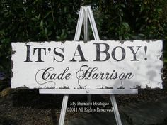 -IT'S A BOY Vintage Baby Sign-   Photo Prop, Baby Announcement cards, Yard sign by:MyPrimitiveBoutique on Etsy