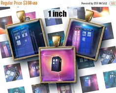 SALE 60% Digital Collage Sheet TARDIS 1 inch Printable Square