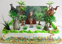 Jungle Book 17 Piece Birthday Cake Topper Set Featuring Mowgli, Baloo, Bagheera, King Louie, Shere Khan, Kaa and Themed Decorative Accessories - Cake Topper Includes All Items Shown