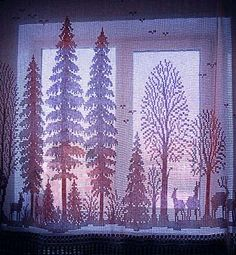 Filet Crochet Curtains. Pattern: Renato Parolin Cross Stitch Embroidery Design.