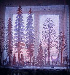 Filet Crochet Curtains. Pattern: Renato Parolin Cross Stitch Embroidery Design.