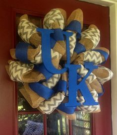 UK Wreath by DaisyMarieCrafts on Etsy love! Where can I find this chevron burlap?!