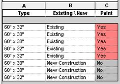 The following approach works well for columns where you want to use 2 colors, and there are 2 distinct options in the column (such as Yes \ No or Existing \ New). Set the first color by applying shading to...