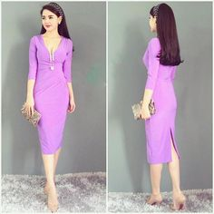 Đầm công sở nhún eo màu tím cà sang trọng