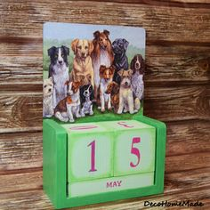 Wooden calendar - decoupage / dogs