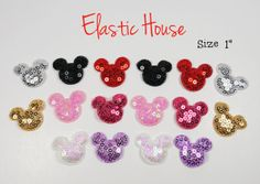 """16 pcs Sequin Minnie/Mickey Mouse Applique - Size 1"""" -  Assorted Color - DIY Headband/Hair Bow/Hair Accessories Supplies    Favors for party?"""